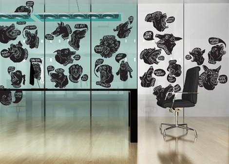 černá - Samolepící dekorace Barking society