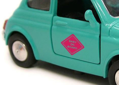 růžová - Samolepka na auto On board