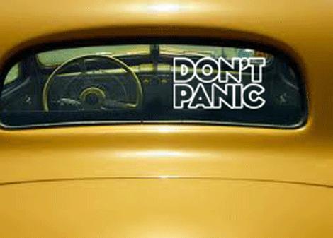 bílá - Samolepka Don't panic