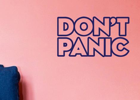 tmavě modrá - Samolepka Don't panic