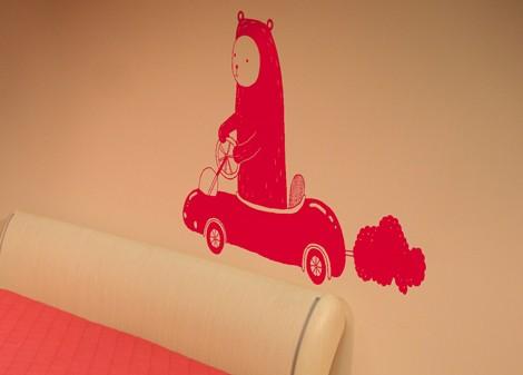 červená - Samolepka na zeď Driver