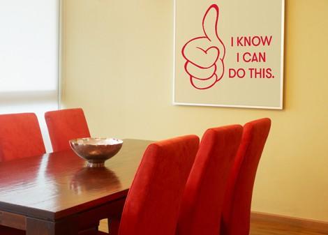 červená - Samolepka na zeď I know