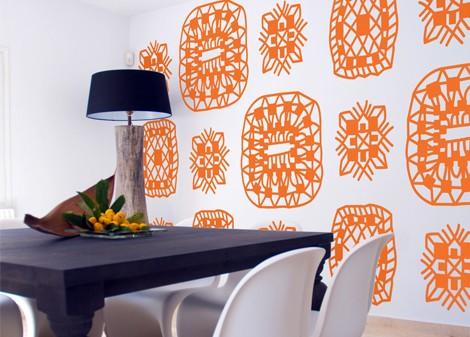 oranžová - Samolepící dekorace na zeď Lace