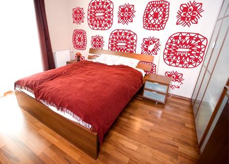 červená - Samolepící dekorace na zeď Lace