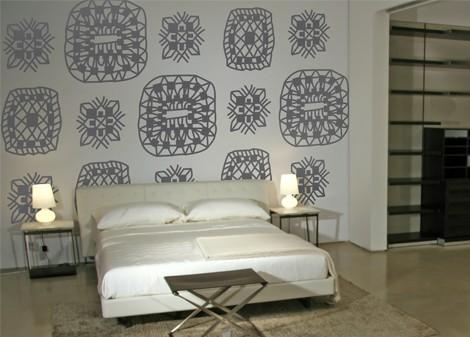 šedá - Samolepící dekorace na zeď Lace