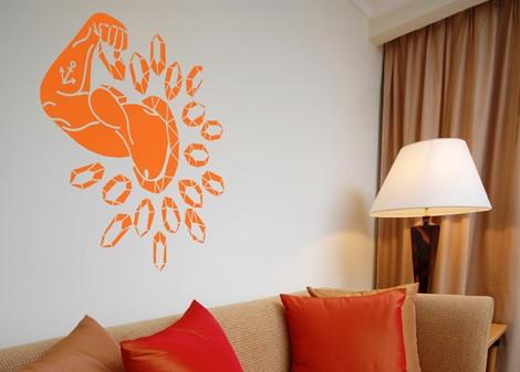 oranžová - Samolepka na zeď Mr. muscle