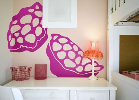 růžová - Samolepící dekorace Polypore