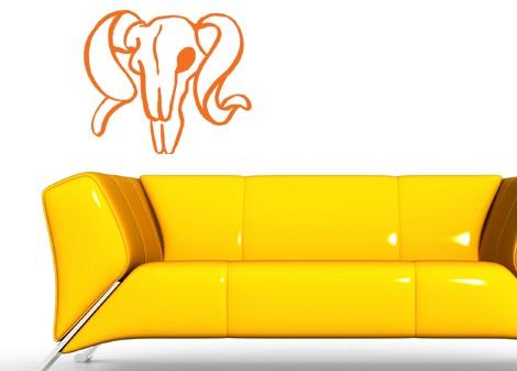 oranžová - Samolepící dekorace na zeď Skull