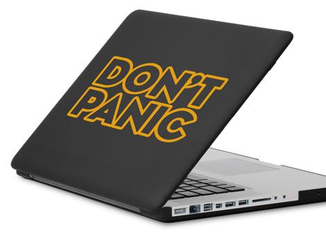 tmavá žlutá - Samolepka Don't panic